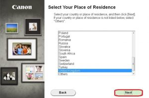 select your place of residence