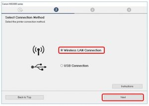 connection on wireless printer