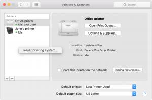 reset your printer