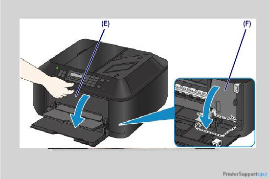 open the paper output tray - canon mx430 printer error 5100